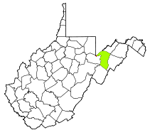 Map of West Virginia with Grant County highlighted